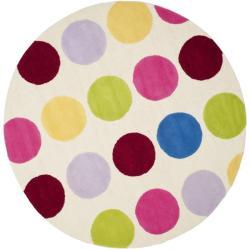 Safavieh Handmade Children's Pokka Dots Ivory N. Z. Wool Rug (4' Round)