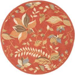 Safavieh Handmade Blossom Botanical Rust Wool Rug (6' Round)