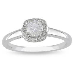 Miadora 10k White Gold 3/5ct TDW Diamond  Halo Ring (G-H, I2-I3)