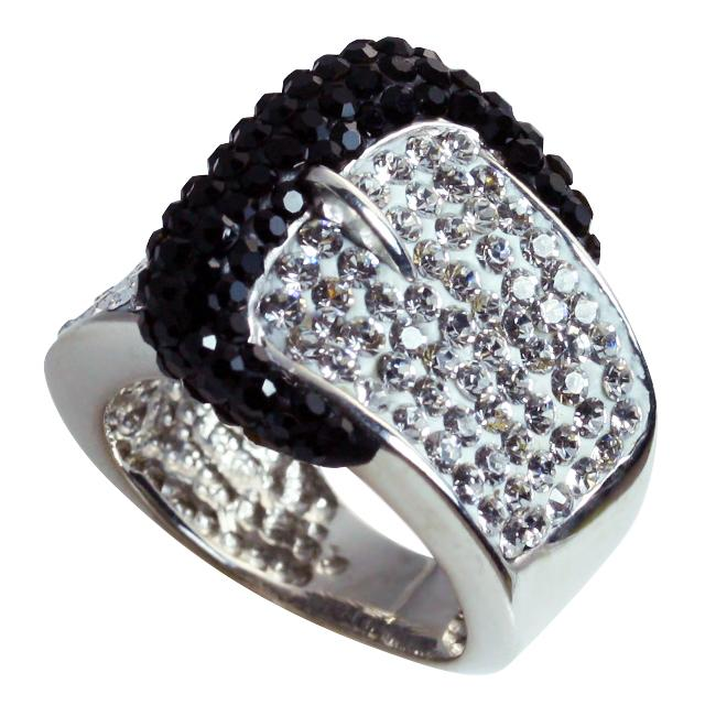 Gioelli Sterling Silver Black and White Crystal Belt Buckle Ring
