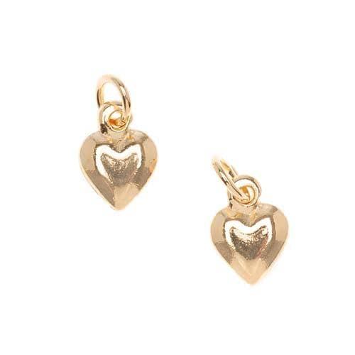 Beadaholique Goldplated Pewter Puffy Heart Charms (Set of 2)