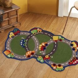 nuLOOM Hand-carved Kids Green Cars & Trucks Roadway Wool Rug (3' x 5')