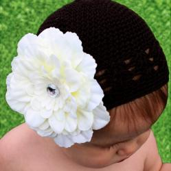 Headbandz Crocheted Dark Chocolate Kufi Hat with Unique Cream Flower