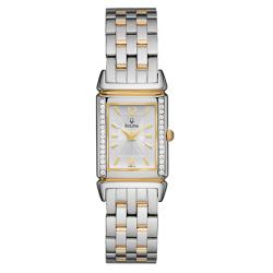 Bulova Women's 'Diamonds' Goldplated and Stainless Steel Quartz Watch