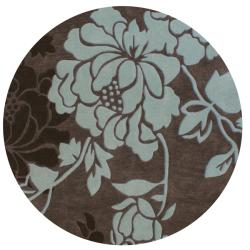 Handmade Alexa Pino Yarrow Brown/ BlueFloral Rug (6' Round)