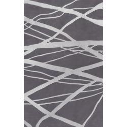 nuLOOM Handmade Pino Geometric Grey Modern Byways Rug (7'6 x 9'6)