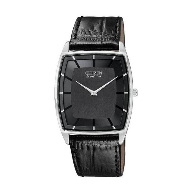 Citizen Eco Drive Mens Stiletto Black Leather Strap Watch