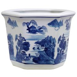 Porcelain Blue and White Landscape Flower Pot (China)