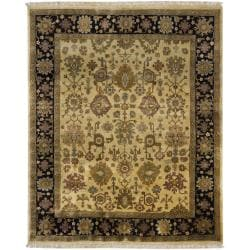 Hand-knotted Mandara Gold New Zealand Wool Rug (8' x 10')