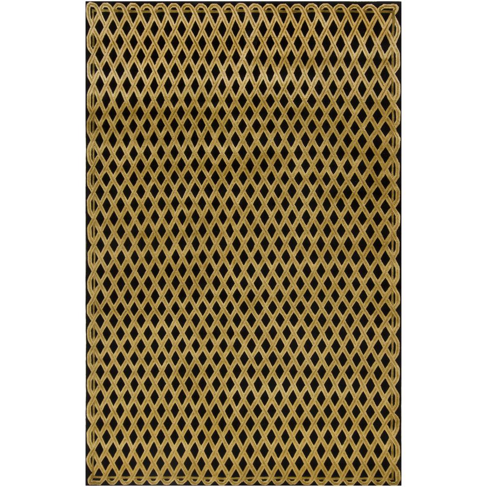 Hand-knotted Mandara Geometric Black New Zealand Wool Rug (6' x 9')