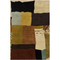 Hand-knotted Mandara Multi-color Geometric New Zealand Wool Rug (6' x 9')