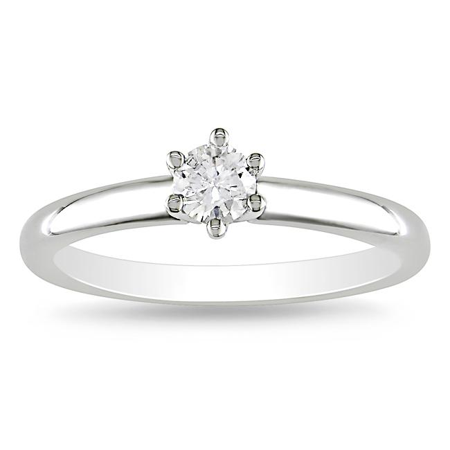 14k White Gold 1/4ct TDW Diamond Solitaire Ring (G-H, I1-I2)
