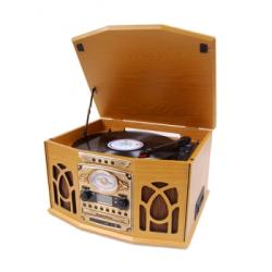 Studebaker SB6065 Nostalgic Wooden Turntable/ CD with Recording/ Cassette Player/ AM/FM Stereo