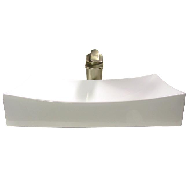 Denovo rectangular shallow porcelain vessel sink with brushed nickel waterfall bathroom faucet - Shallow vessel sink ...