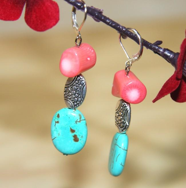 Silverplated Dodge City Turquoise and Reef Coral Earrings