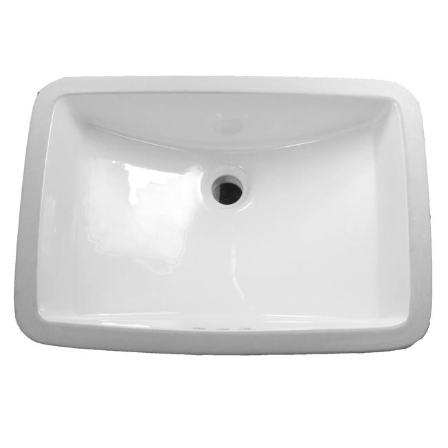 DeNovo Large White Rectangular Undermount Porcelain Bathroom Sink