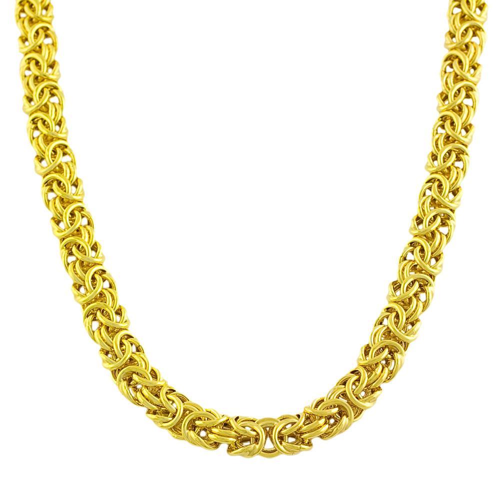Goldkist 18k Gold over Silver 18-inch Byzantine Necklace