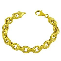 Goldkist 18k Yellow Gold over Silver Rope Design Cable Bracelet