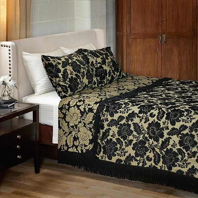 Black Floral Chenille King-size 3-piece Coverlet Set