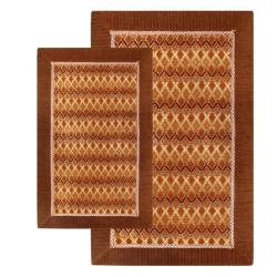 Jacquard Elegance Brown Rugs (Set of 2) (1'9 x 2'10) (2'6 x 4'2)