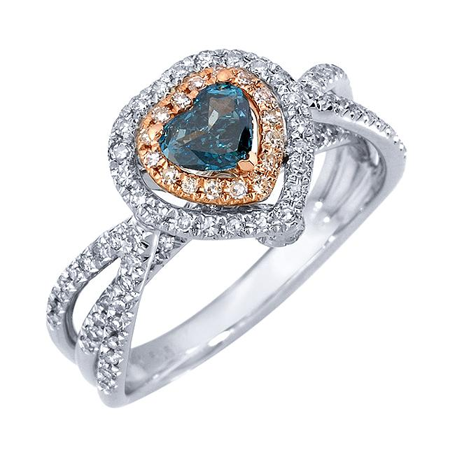 14k Two-tone Gold 3/4ct TDW Blue and White Diamond Ring (G-H, SI1)