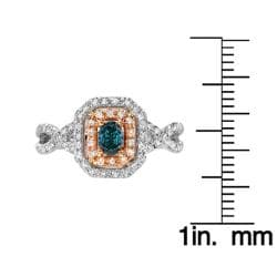 14k Two-tone Gold 3/5ct TDW Blue and White Diamond Ring (G-H, SI1)