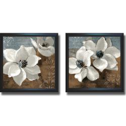 Lanie Loreth 'White Magnolias I and II' Framed 2-piece Canvas Art Set