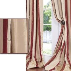 Cream/ Burgundy/ Tan Stripe Faux Silk Taffeta Curtain Panel