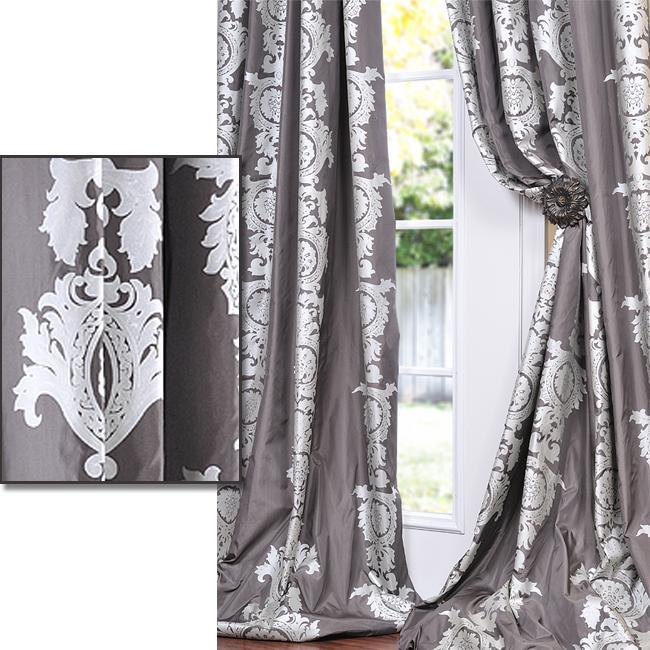 Charcoal Grey With Silver Metallic Print Faux Silk 108-inch Curtain Panel