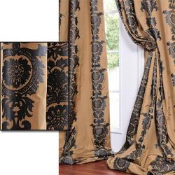Golden Tan With A Soft Black Print Faux Silk 96-inch Curtain Panel