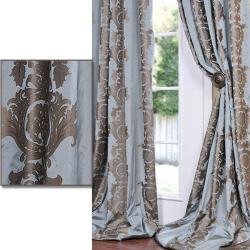 Medium Teal Blue With Cocoa Brown Print Faux Silk 96-inch Curtain Panel
