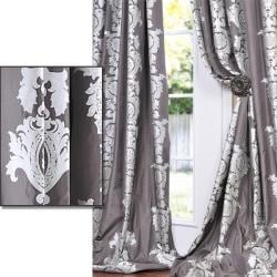 Tiffanie Gull Grey Patterned Faux Silk 96-inch Curtain Panel