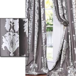 Exclusive Fabrics Charcoal Grey With Silver Metallic Print