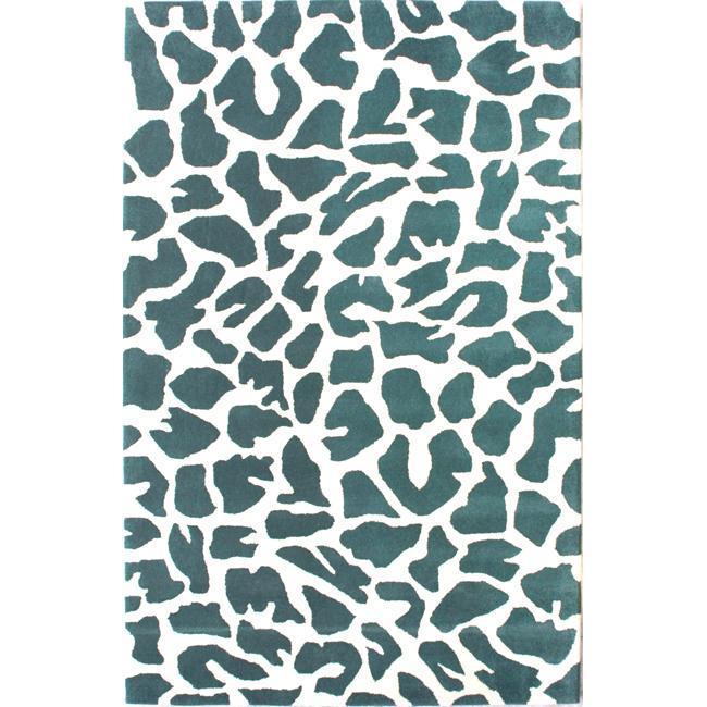 NuLOOM Handmade Modern Premium Wool Teal/ Ivory Leopard