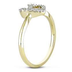 Miadora 10k Yellow Gold 1/5ct TDW Diamond Heart Ring (G-H, I2-I3)