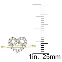 Miadora 10k Yellow Gold 1/5ct TDW Diamond Heart Ring (G-H, I2-I3)