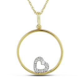 Miadora 10k Yellow Gold Diamond Accent Heart and Circle Necklace