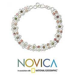 Sterling Silver 'Translucent Contrasts' Tourmaline Bracelet (India)