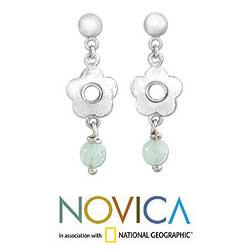 Sterling Silver 'Floral Round' Opal Earrings (Peru)