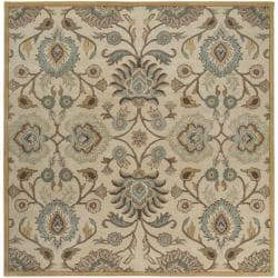 Hand-tufted Coliseum Beige Wool Rug (4' Square)