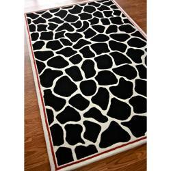 nuLOOM Handmade Modern Premium Wool Black Bold Giraffe Rug (7'6 x 9'6)
