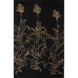 nuLOOM Handmade Modern Premium Wool Black Cornstalk Rug (4' x 6')