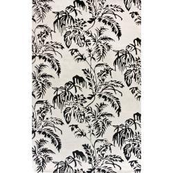 nuLOOM Handmade Modern Premium Wool Grey Tropical Palms Rug (7'6 x 9'6)