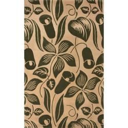nuLOOM Handmade Modern Premium Wool Green Essence Rug (7'6 x 9'6)
