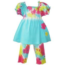 Ann Loren Girl's Two-piece Tie Dyed Capri Set