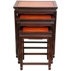 Set of 3 Rosewood Two-tone Nesting Tables (China)