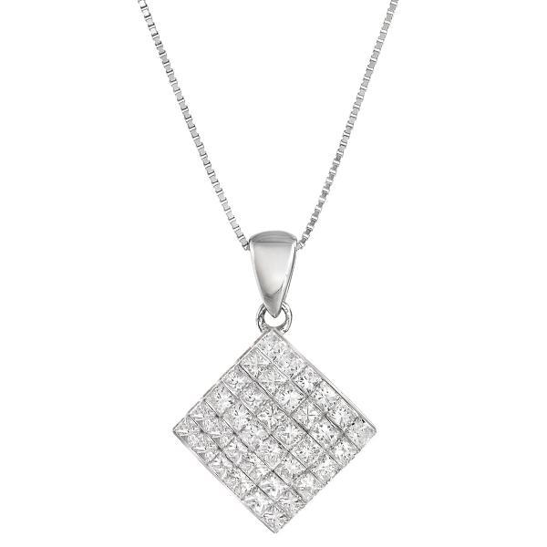 14k White Gold 7/8ct TDW Princess Diamond Pendant (G-H, VS1-VS2)