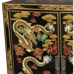 Wooden 36-inch Black Dragon Shoe Cabinet (China)
