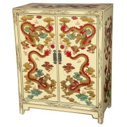 Wooden 36-inch Ivory Dragon Shoe Cabinet (China)