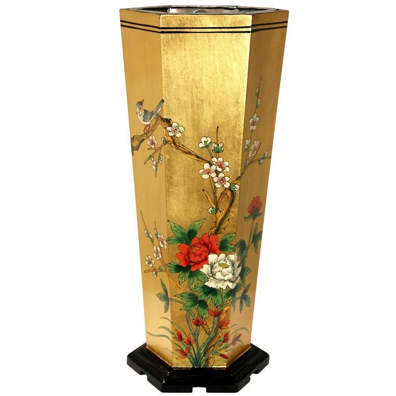 Elm Wood Gold Leaf Umbrella Stand (China)